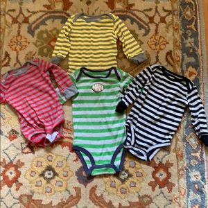 4 Carter's six month striped onsies